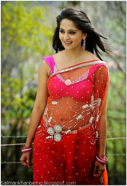 Anushka shetty hot navel show in red saree